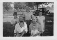1941 Allendale, Michigan. From right to left. Back Row ; George Hubbard, Doug Gates, Barbara Jean (Lowing) Brink (age 9). Middle Row : Grandpa and Grandma DeNeff. Front row : Jim Hubbard, Bonnie Lou K