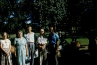 Lowing Reunion, Sept 1954. Left to right ; Mary Jane (Kelley) Taylor, (Aunt) Lilah Maybelle (Lowing) Kelley, Larry Kelley, (Uncle) Harold (?) Kelley, Marlin C. Taylor