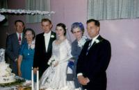Oct. 9, 1954. Barbara Jean (Lowing) Brink and Irwin Jay Brink Wedding. Left to right : John Herbert Brink (Dad), Jennie (Elzinga) Brink (Mom), Irwin Jay Brink, Barbara Jean (Lowing) Brink, (Cora) Dori