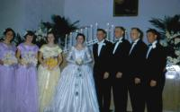 Oct. 9, 1954. Barbara Jean (Lowing) Brink and Irwin Jay Brink Wedding. Left to right : Sue Horbatt, Shirley Meyaard, Shirley Koning, Barbara Jean (Lowing) Brink, Irwin Jay Brink, Kenneth Dale Brink, D