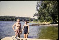 "June 1955, Irwin Jay Brink and Barbara Jean (Lowing) Brink . ""Traphagen Cottage"""