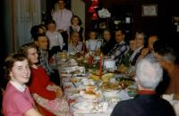 Christmas 1955, De Neff family dinner at Warner Street, Allendale. From left to right : Bonnie Lou Kraker (daughter of Edna (De Neff) Kraker, Doris Lowing's sister), (Florence) Mae (De Neff) Taylor, H