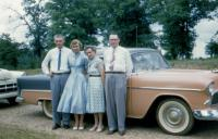 "1956. left to right : Kenneth Dale Brink, Janice ""Janey"" (Hondred) Brink, Jenny (Elzinga) Brink (Mom) &  John Herbert Brink (Dad) in Missouri"