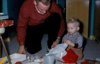 Christmas 1958. Kenneth Dale Brink, brother of Irwin Jay Brink & his oldest son, (Cousin) Douglas Jay Brink c
