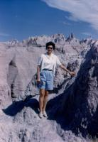 August, 1959. University of Iowa Western Trip (see below), Badlands South Dakota - Barbara Jean (Lowing) Brink S. Dakota (Badlands, Mount Rushmore), Wyoming (Devil's Tower, Yellowstone, Tetons), Utah,