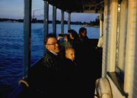 1960. John Herbert Brink (Dad) & (Cousin) Douglas Jay Brink. Brink family boat trip on Lake Macatawa.