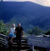 1961. (Cora) Doris (De Neff) Lowing (Mom) and Harold Crandal Lowing (Dad) at Glassmine Falls on the Blue Ridge Parkway in North Carolina