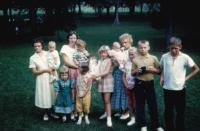 "1961. Lowing family reunion. Lois Cheyne and baby, Lorraine (Cheyne) Rider's daughter, ?, ?, ?, Carolyn Lowing, Rita?, (Aunt) Cornelia ""Connie"" (Blanker) Lowing, ?, Bill Lowing, Virginia Lowing's son"