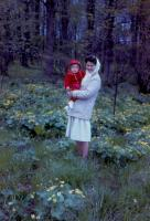 May, 1962. Barbara Jean (Lowing) Brink with Jeanne Marie Brink - Gathering Cowslip greens