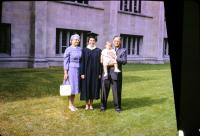 (Cora) Doris (De Neff) Lowing (Mom), Barbara Jean (Lowing) Brink, Jeanne Marie Brink,  Harold Crandal Lowing (Dad). Barb's graduation from Hope College, Holland Michigan.