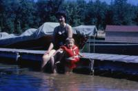Sept. 1962. Barbara Jean (Lowing) Brink and Jeanne Marie Brink at Pickeral Lake, Michigan.