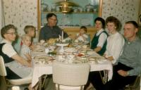 "1962. Brink Christmas From left to right : Jennie (Elzinga) Brink (Mom), (Cousin) Jim Brink, (Cousin) Doug Brink, John Herbert Brink (Dad), Jeanne Marie Brink, Barbara Jean (Lowing) Brink, Janice ""Jan"