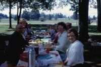 1963. Lowing family reunion. Left to right : (Uncle) Ervin Marion Lowing, (Aunt) Bernice (Klekotka) Lowing, ?, ?, Lorraine Rider, Leon Rider, (Cora) Doris (De Neff) Lowing (Mom), ?,?,(Aunt) Lilah Mayb
