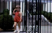 1963. Jeanne Marie Brink on gate of the Whitehouse - Wash, DC. The family spent that summer in DC.