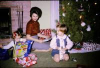 "Jeanne Marie Brink, Barbara Jean (Lowing) Brink, Anne Renee Brink. ""721 Lugers Road"", Holland, Michigan; Christmas 1965."