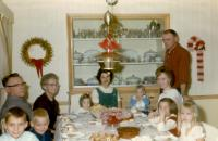 Christmas 1966. From left to right : (Cousin) Doug Brink, John Herbert Brink (Dad), (Cousin) Jim Brink, Jennie (Elzinga) Brink (Mom), Jeanne Marie Brink, Barbara Jean (Lowing) Brink, Robert Lowing Bri