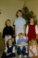 Christmas 1966. Brink grandchildren. From left to right : (Cousin) Jim Brink, Anne Renee Brink, (Cousin) Doug Brink, Robert Lowing Brink, Jeanne Marie Brink, (Cousin) Judy Brink  at the Kenneth Dale B