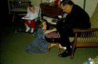 Christmas 1966. Robert Lowing Brink, Jeanne Marie Brink, & Harold Crandal Lowing (Dad) at Irwin Jay Brink Residence - 721 Lugers road,