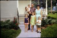 """Anne Renee Brink, Mary Lynne Brink,  Irwin Jay Brink,  Jeanne Marie Brink, Barbara Jean (Lowing) Brink, Robert Lowing Brink. """"Brink family, Off to Ann Arbor"""". Harold C. Lowing Farm - 3695 Bauer road,"""