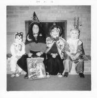 Halloween, 1969. Irwin Jay Brink Residence - 721 Lugers road, Holland, Michigan. Left to Right ; Mary Lynne Brink, Jeanne Marie Brink, Anne Renee Brink, Robert Lowing Brink