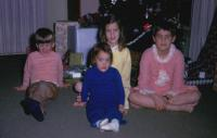 Christmas 1969.  children. Robert Lowing Brink, Mary Lynne Brink, Anne Renee Brink, Jeanne Marie Brink at Irwin Jay Brink Residence - 721 Lugers road, Holland, Michigan.