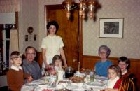 Christmas 1969. Family at Lowings. Robert Lowing Brink, Harold Crandal Lowing (Dad), Barbara Jean (Lowing) Brink, Anne Renee Brink, (Cora) Doris (De Neff) Lowing (Mom), Mary Lynne Brink, Jeanne Marie
