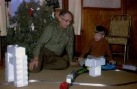 Christmas Day 1970. Harold Crandal Lowing (Dad) and Robert Lowing Brink at Harold C. Lowing Farm - 3695 Bauer road, Jenison, Michigan.