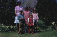 1971. Barb & family. Mother's Day. Barbara Jean (Lowing) Brink, Robert Lowing Brink, Jeanne Marie Brink, Mary Lynne Brink, Anne Renee Brink at Harold C. Lowing Farm - 3695 Bauer road, Jenison, Michiga