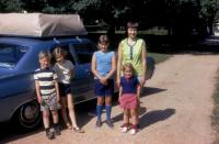 July, 1971. Leaving for Interlochen. Family. Robert Lowing Brink, Anne Renee Brink, Jeanne Marie Brink, Barbara Jean (Lowing) Brink at Irwin Jay Brink Residence - 721 Lugers road, Holland, Michigan.