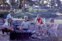 July, 1972. Camp. Rocky Mounain National Park (Colorado). Jeanne Marie Brink, Barbara Jean (Lowing) Brink, Robert Lowing Brink, Anne Renee Brink, Mary Lynne Brink