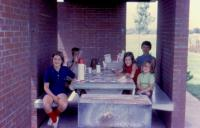 July, 1972. Lunch along I-80 in Nebraska. Jeanne Marie Brink, Robert Lowing Brink, Anne Renee Brink, Barbara Jean (Lowing) Brink, Mary Lynne Brink