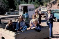 Sept. 1975. Geology trip -  Abiquiu, New Mexico. Anne Renee Brink, Jeanne Marie Brink, Mary Lynne Brink, Robert Lowing Brink, ?, Barbara Jean (Lowing) Brink.