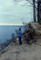 October, 1987. Barbara Jean (Lowing) Brink at Leelanau Peninsula. Pyramid Point trail.