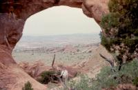 May, 1990. Barbara Jean (Lowing) Brink at Partition Arch, Arches National Park.