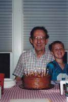 Sept. 1996. Celebrating Irwin Jay Brink's 66th birthday with Jacob Lindell, the son of Jeanne Marie (Brink) Lindell